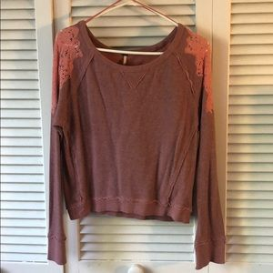 Free People Embroidered Crew Neck